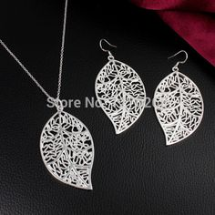 S083 Top quality silver plated leaf pendant necklace & earrings Fashion Jewelry Sets beautiful Christmas gift