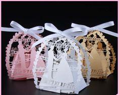 50pcs Bride And Groom Laser Cut Wedding Favor Box Wedding Decoration - Wedding Look