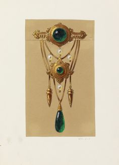 Alexis Falize, Drawing design for a gold and cabochon brooch, 1855.