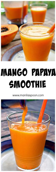 Deliciously refreshing and healthy tropical smoothie - Mango Papaya Smoothie! #weightlossbeforeandafter