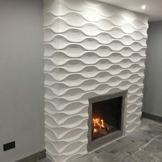 Wrap around - don't like this Fireplace Wall, Living Room With Fireplace, Fireplace Design, Modern Fireplace, Living Room Decor, Textured Wall Panels, 3d Wall Panels, Home Room Design, Living Room Designs