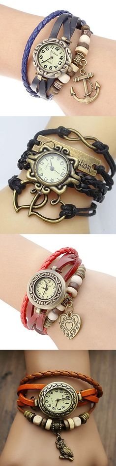 Leather bracelet watch with little charms. Choose your own.