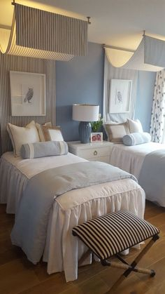 Twin bedroom with white bedspread, accented with shams. Twin bedroom with white bedspread, accented with shams. Twin Beds Guest Room, Twin Girl Bedrooms, Bedroom Colors, Rustic Bedroom, Beautiful Bedroom Colors, Guest Bedrooms, Minimalist Bedroom, Bedroom Color Schemes, Beach Style Bedroom