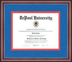 Depaul University, University Diploma, University Certificate, Diploma Frame, Alma Mater, School Colors, Chicago Illinois, Appreciation, Graduation