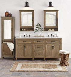 "The Walden Bath Vanity is 71"" wide with double sinks, perfect for a master bath area. It has doors and drawers for ample storage space as well as a simple white faux stone top. Update your bathroom with a new double vanity. #12DaysofDeals2016"