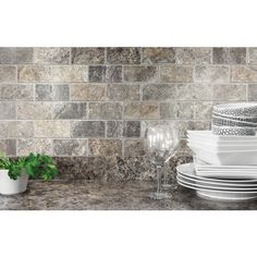 Shop Anatolia Tile Silver Crescent Brick Mosaic Natural Stone Travertine Wall Tile (Common: 12-in x 12-in; Actual: 12-in x 12-in) at Lowes.com