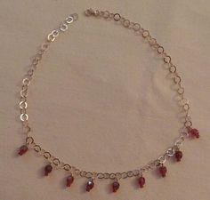 collana con catena in argento 925 e perline in mezzo cristallo rosso