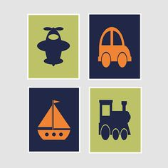 Navy Orange Lime Green Transportation Car Train Airplane Sailboat Silhouette Set of 4 Prints Boy Nursery Child Room Wall Art Decor Picture