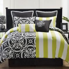 New Bed Bag King Queen Twin XL Black Green 8 Piece Comforter Shams Pillows Set | eBay