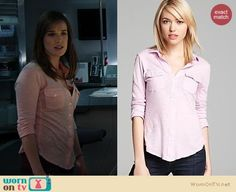 Jemma's pink button front shirt on Agents of S.H.I.E.L.D.  Outfit Details: https://wornontv.net/19349/ #AgentsofSHIELD