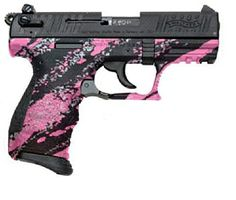 pink 380 pistol. Not usually a fan of girly colored guns but this one is pretty sick