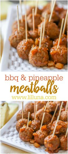 These Barbecue Pineapple Meatballs use just 3 ingredients - barbecue sauce, frozen meatballs, and crushed pineapple. They are perfect as an appetizer recipe for parties and get togethers or even a side dish for dinner. Bbq Pineapple, Crushed Pineapple, Pineapple Sauce, Pineapple Recipes, Crock Pot Meatballs, Mini Meatballs, Barbecue Sauce, Barbecue Recipes, Grilling Recipes