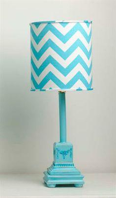 Great Aqua Mini Column Stick Lamp W/aqua U0026 White Zig Zag Drum Shade|Fab