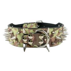 "2-inch Wide Incredibly Cool Sharp Spiked Studded Leather Dog Collars 15-24"" http://www.barkslands.com/product-category/collars/training-collars/"