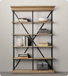 restoration hardware inspiration - $100 Wood and Metal Bookshelf