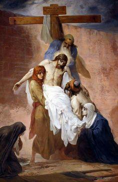 Jesus is taken down from the cross.
