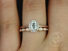 Celeste 7x5mm & Christie 14kt Rose Gold Oval FB Moissanite and Diamonds Pave Halo Wedding Set (Other metals and stones available)