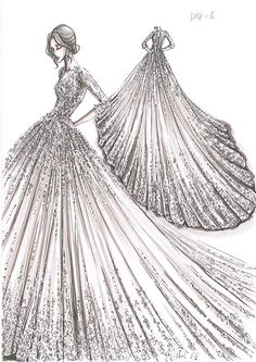by Oleg Cassini Creative Director Viola Chan Dress Design Drawing, Dress Design Sketches, Fashion Design Sketchbook, Fashion Design Drawings, Fashion Sketches, Dress Illustration, Fashion Illustration Dresses, Wedding Dress Drawings, Fashion Drawing Dresses