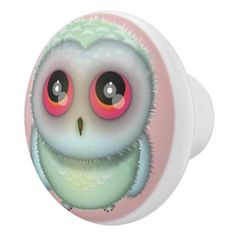 Cute Little Owl Illustration Ceramic Knob ideal for children's bedroom