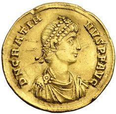 A Roman solidus bearing the image of Gratian.