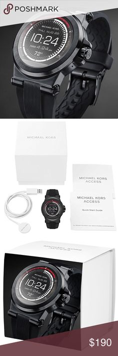 Michael Kors Access Dylan Smartwatch Men's Watch New in box! Retails for $350 Technology meets style with this Michael Kors Access Watch. Fully personalize your watch by selecting or customizing the watch face of your choice and changing out the straps to match your activity or look.Stay connected  Featured in black Smart watch Compatible with: Android Devices 4.3+, iOS 8+ / iPhone 5 +, iOS 7+ / iPhone 4s+ Receive notifications for calls, texts, and emails Tracks fitness goals by tracking…