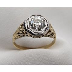 Vintage Old European Cut Diamond Yellow Gold Filigree Engagement Ring at Isadoras Antique Jewelry.