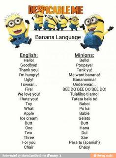 Despicable me minions language!
