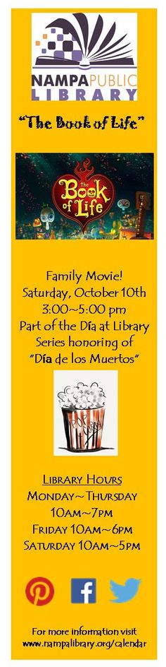 """Family Movie Program -  Families are welcome to Join us in the library's multipurpose room for a special showing of """"The Book of Life"""" (PG)  as part of our Dia at the library series in honor of Dia de los Muertos. Light Refreshments will be served."""