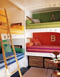 Built-in bunk beds with different color bedding for different kids. Perfect for shared rooms!
