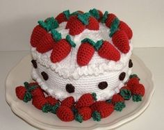 Instant Download PDF Crochet Pattern Strawberry Cake Available In cakepins.com