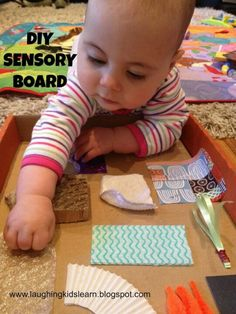 links to picture only, but great idea for sensory board for baby using cardboard box as base