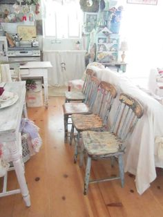 Vintage chippy painted chairs shabby chic by Vintagewhitecottage, $199.00
