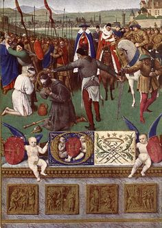 Jean Fouquet, The Martyrdom of Saint James the Great, from Miniatures from the Book of Hours of Étienne Chevalier, 1452-1460, illumination (Musée Condé, Chantilly)
