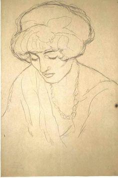 Gustav Klimt, Klimt Art, Portrait Sketches, Art Drawings Sketches, Figure Drawing, Painting & Drawing, Vintage Art Prints, Art Graphique, Illustration Art