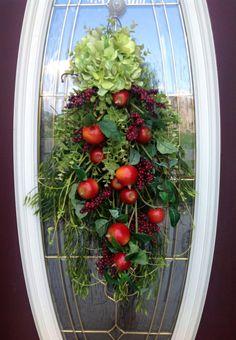 """Spring Wreath Summer Wreath Teardrop Door Twig Swag Vertical Decor..""""Apples and Berries"""""""