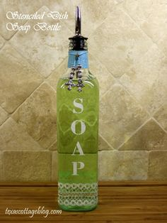 Texas Cottage: Stenciled Dish Soap Bottle {Martha Stewart Glass Paint}