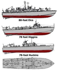 Three different PT boat designs offered to the U.S Navy during WWII. A fourth design was offered by The Navy Yard in Philadelphia (81-foot). The Higgins design included both an 81-foot and 76-foot design