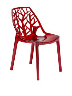 LeisureMod Modern Cornelia Dining Chair, Transparent Red at MYHABIT