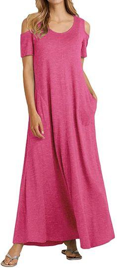 Sommerfeeling  {Stoff} ---- Dieses Kleid besteht aus Baumwollstoff, ist weich, bequem, atmungsaktiv und hat eine gute Elastizität. Einfarbiges Design, das mit den Modetrends Schritt hält und perfekt für den Sommer geeignet ist {Features} ---- Schulter, kurze Ärmel, runder Hals, lockerer, langer Rock, einfarbig, sexy; zeige deine süße, verspielte und sexy Figur. Kalte Schulter 95% Polyester, 5% Elasthan Schulterfrei {Seitentasche} ---- Zwei Seitentaschen an der Seite des Kleides, in denen Sie… Short Sleeve Dresses, Dresses With Sleeves, Elegant, Fit, Cold Shoulder Dress, Fashion, Cold Shoulder, Cotton Textile, Long Dresses
