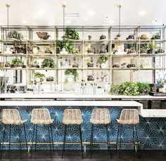 We thought we'd brighten up your Friday with this amazing shot from the newly opened Downtown LA location of designed by of The Starburst Hex pattern makes an awesome statement. ・・・ Well hello there my darling Photo by Outdoor Rooms, Outdoor Living, Cafe Industrial, Warehouse Kitchen, Bar Tile, Concrete Tiles, Inspired Homes, Loft, Restaurant Design
