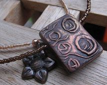Copper circles necklace - rectangle pendant - hand stamped polymer clay and glass