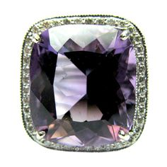 Large Amethyst Cushion Cut Ring with Diamonds