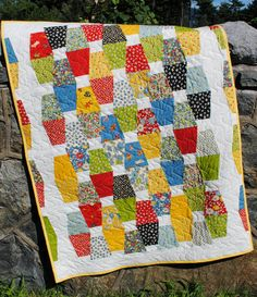 PDF Quilt Pattern.....Charm square or Fat Quarter friendly, ..baby or lap quilt, Jack & Jill Modern Tumbler. $9.00, via Etsy.