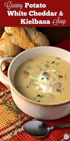 Creamy Potato, White Cheddar, And Kielbasa Soup By Renee's Kitchen Adventures - Msg 4 21 Easy, Hearty Soup Recipe Perfect For The Cooler Weather A Taste Of Old World Oktoberfest Ad Hearty Soup Recipes, Chowder Recipes, Chili Recipes, Crockpot Recipes, Kielbasa Soup, Kielbasa Crockpot, Kielbasa And Potatoes, White Cheddar, Soup And Sandwich