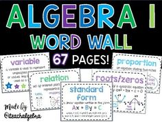 Algebra 1 & Middle School Math Word Wall Posters - Set of 72 Words Math Wall, Math Word Walls, Thoughts For Teachers, Math Posters Middle School, 7th Grade Classroom, School Classroom, Classroom Ideas, Sixth Grade Math, Math Words