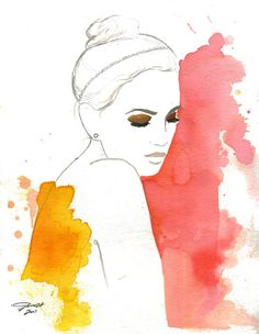 Splashes, #watercolor #fashion #illustration
