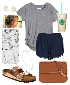 """""""The night out"""" by jadenriley21 on Polyvore featuring VILA, Birkenstock, Casetify, MICHAEL Michael Kors and Kendra Scott"""