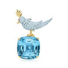 Tiffany & Co. Schlumberger® Bird on a Rock clip with an aquamarine, mini. | Tiffany & Co.
