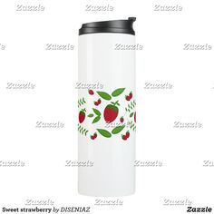Shop Sweet strawberry thermal tumbler created by DISENIAZ. Beverages, Drinks, Custom Tumblers, Strawberry, Water Bottle, Mugs, Sweet, Drinking, Candy