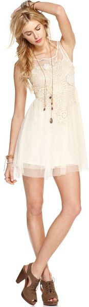 Free People Sleeveless Scoopneck Crochet Aline in Beige- 84$
